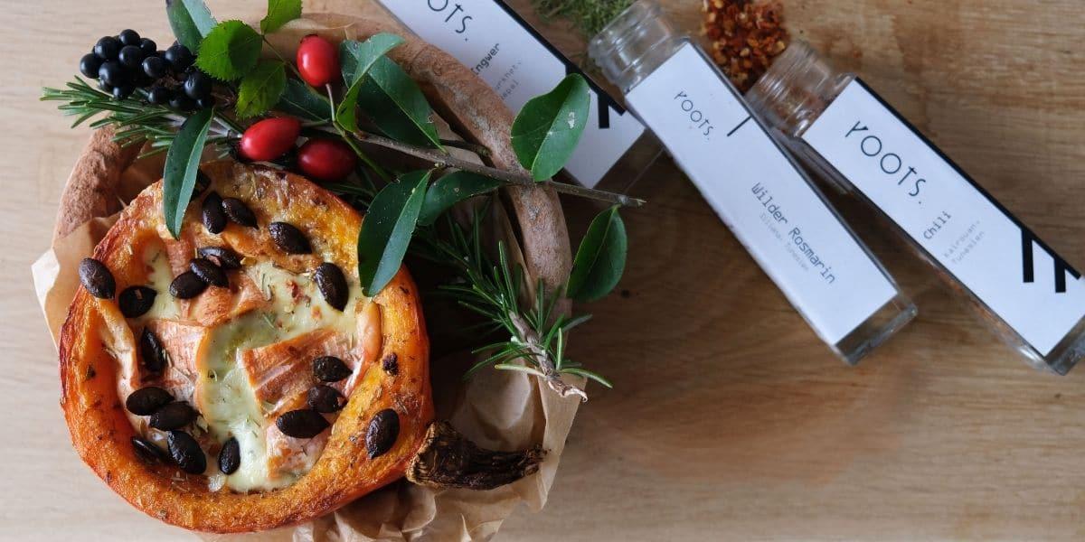 Ofenkürbis überbacken und mit hochwertigen Gewürzen verfeinert