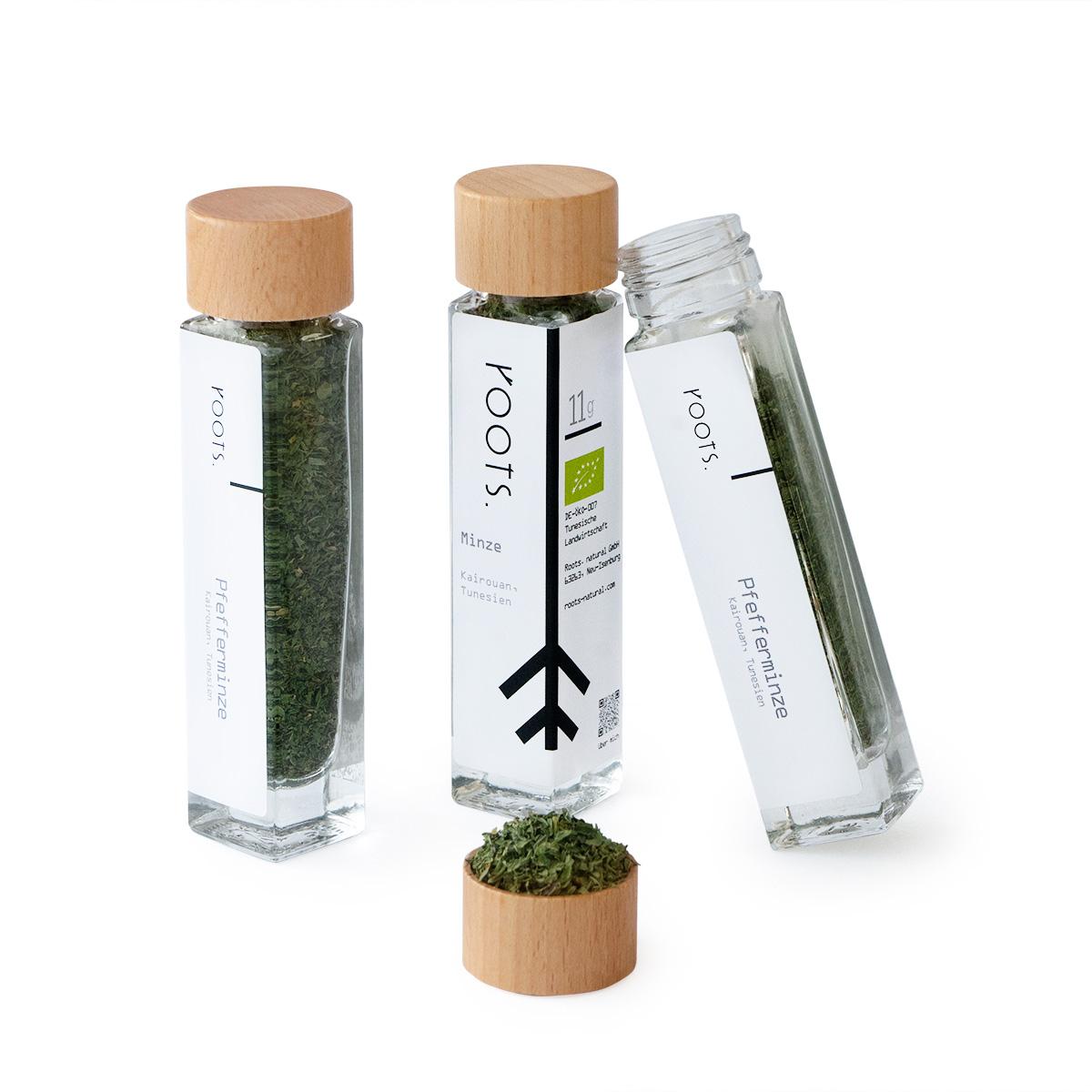 Pfefferminze bio kaufen im schönen Gewürz-Glas von roots natürlich und direkt aus Tunesien