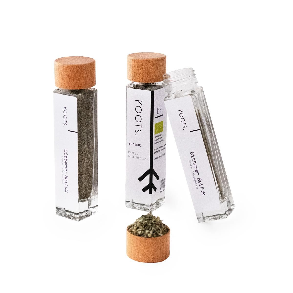 Wermut bio kaufen im schönen Gewürz-Glas von roots natürlich und direkt aus Kreta