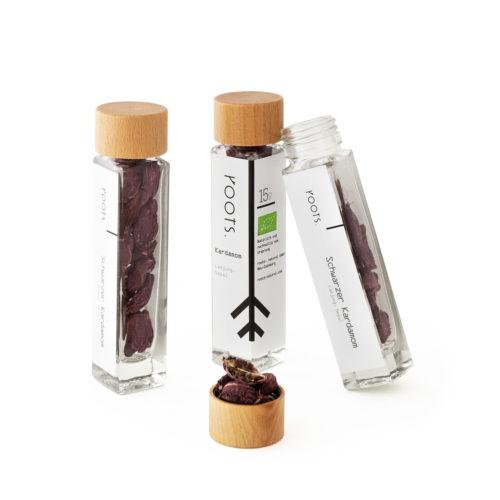 Schwarzer Kardamom kaufen bio von roots im Gewuerz-Glas natuerlich und direkt aus Nepal