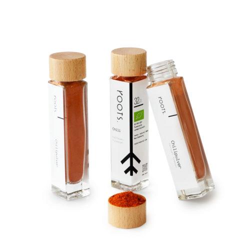 Chilipulver kaufen bio von roots im Gewuerz-Glas natuerlich und direkt aus Tunesien