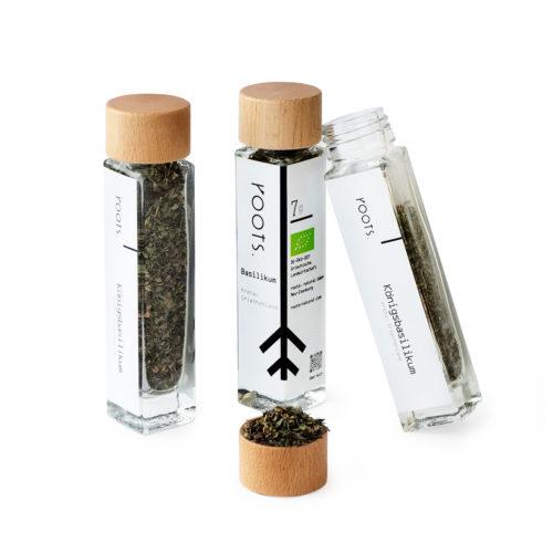 Koenigsbasilikum bio von roots im Gewuerz-Glas natuerlich und direkt aus Kreta