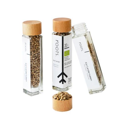 Koriandersamen kaufen bio von roots im Gewuerz-Glas natuerlich und direkt aus Tunesien