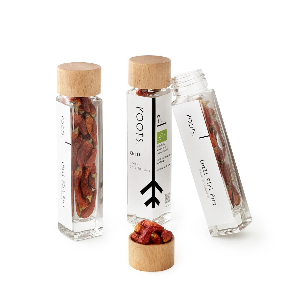Chilischote kaufen bio Piri Piri von roots im Gewuerz-Glas natuerlich und direkt aus Kreta