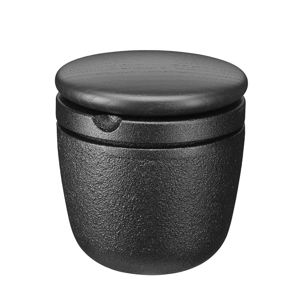 Gewuerz-Grinder Gusseisen mit schwarzem Holzdeckel Esche