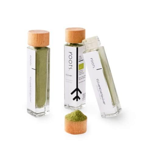 Olivenblattpulver kaufen bio von roots im Gewuerz-Glas natuerlich und direkt aus Tunesien