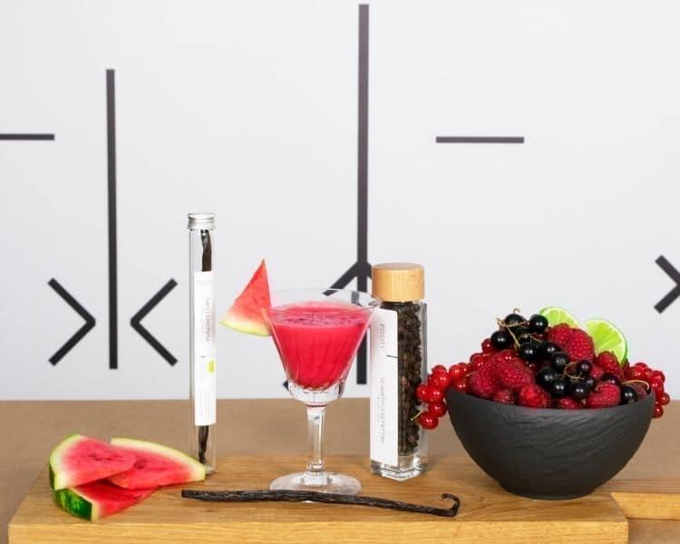 Wassermelonensaft mit Vanille und Beeren