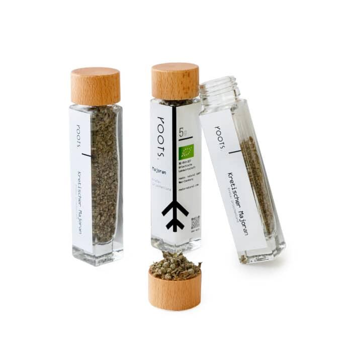 Kretischer Majoran kaufen bio von roots im Gewuerz-Glas natuerlich und direkt aus Kreta