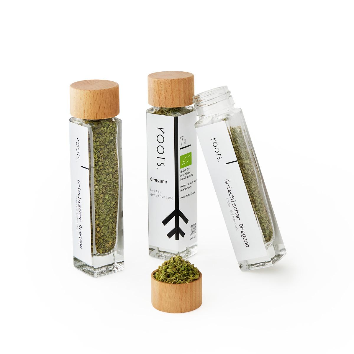 Oregano getrocknet kaufen bio von roots im Gewuerz-Glas natuerlich und direkt aus Kreta
