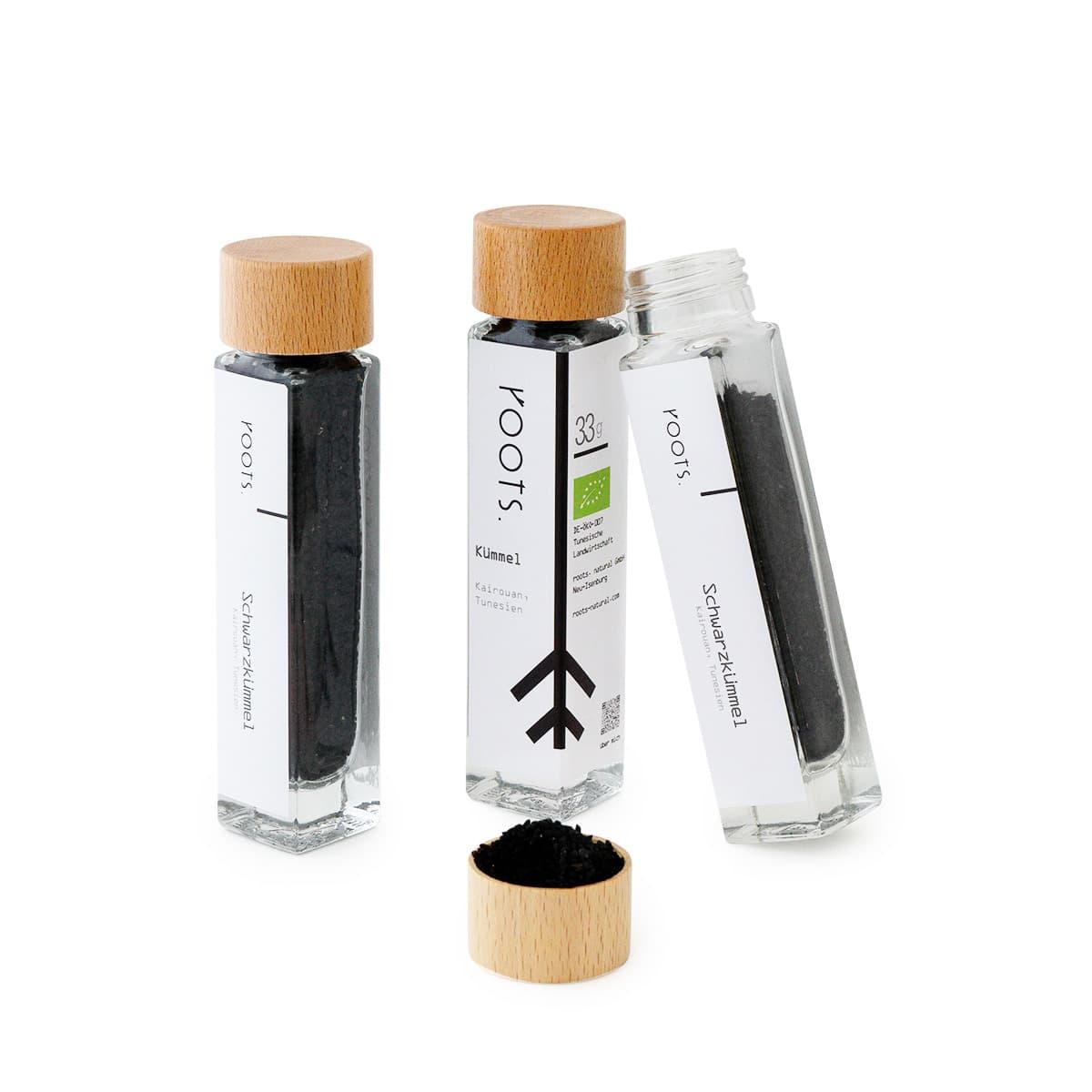 Schwarzkuemmel bio kaufen von roots im Gewuerz-Glas natuerlich und direkt aus Tunesien