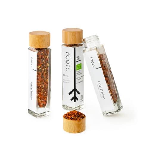 Chiliflocken kaufen bio von roots  im Gewuerz-Glas natuerlich und direkt aus Tunesien