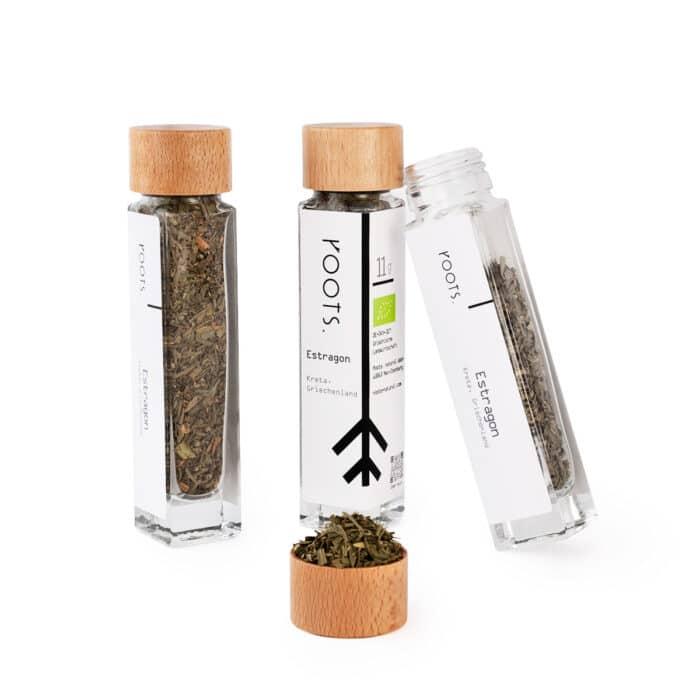 Estragon kaufen bio von roots im Gewuerz-Glas natuerlich und direkt aus Kreta